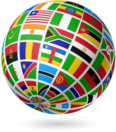 international flags global sphere